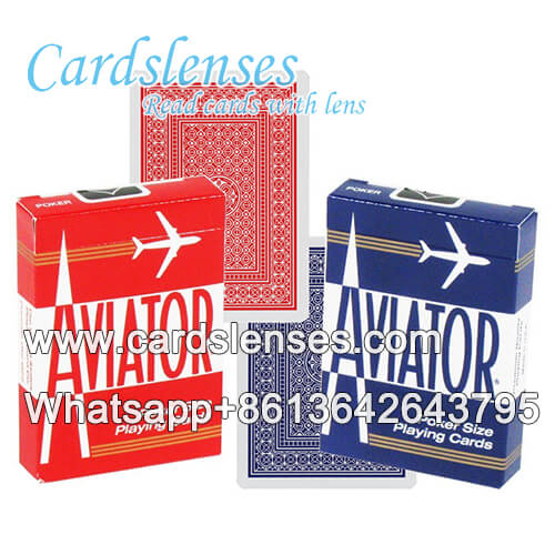 aviator blue playing cards with barcodes on the edges