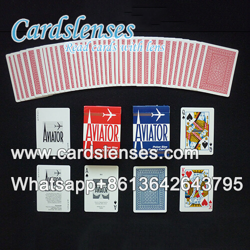 aviator red playing cards with barcodes on the edges