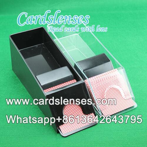 impreso cámara de baraja marcada con código de barras en el zapato de blackjack