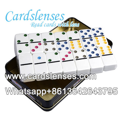 Professional ultraviolet luminous set of 28 double six color dots marked dominos